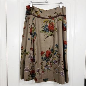 CAbi Maggie Brown Floral Pleated A-line Skirt, 2